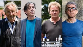 Peter Bichsel (l.) ist ebenso Mitunterzeichner der Initiative wie die Oltner Autoren Pedro Lenz (v. l.), Alex Capus und der Solothurner Schriftsteller Franco Supino.