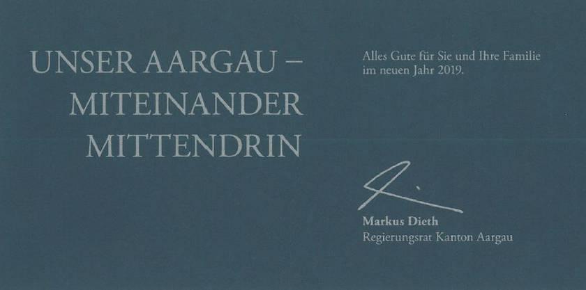 Die Weihnachtskarte von Regierungsrat Markus Dieth (Departement Finanzen und Ressourcen).