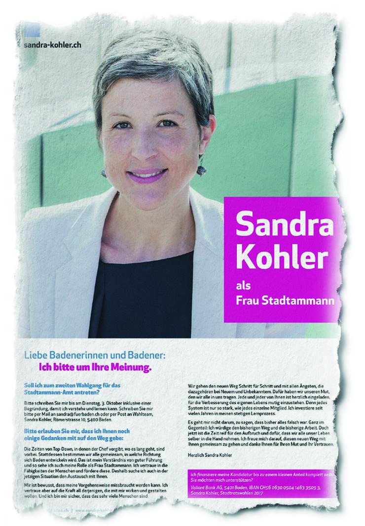 Dieses ganzseitige Inserat der frisch gewählten Badener Stadträtin Sandra Kohler (parteilos) erschien in der letzten Ausgabe der «Schweiz am Wochenende».