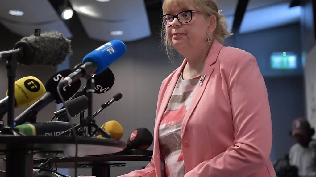 Die stellvertretende Direktorin der Staatsanwaltschaft, Eva-Marie Persson (im Bild), erklärte am Montag vor den Medien, es gebe immer noch Grund zur Annahme, dass sich Assange der Vergewaltigung schuldig gemacht habe.