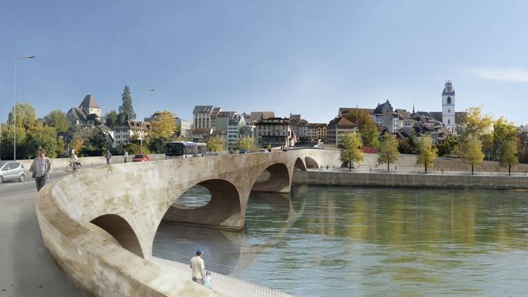 Die Farbe der neuen Aarebrücke beschäftigte den Aarauer Stadtrat. (Visualisierung)