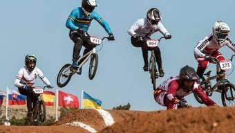 Die BMX-Fahrer in Aktion an den Europa-Spielen in Baku