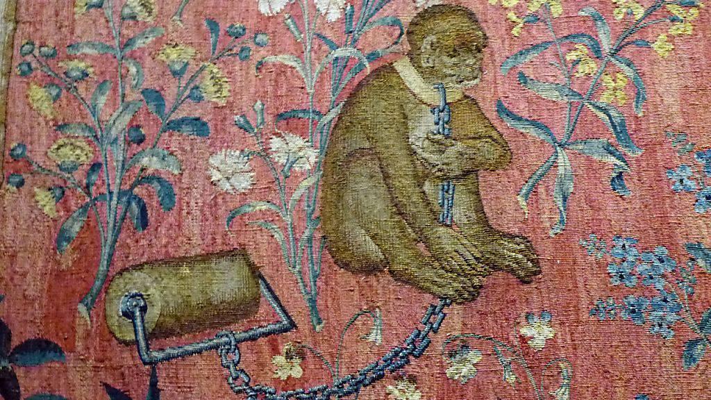 Wie Berberaffen gehalten wurden, ist auf einem mittelalterlichen Wandteppich aus dem Musée de Cluny in Paris zu sehen.