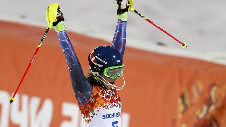 Als letzte Fahrerin im zweiten Lauf ist sie trotz Fehlern nochmals eine halbe Sekunde schneller als die beiden Österreicherinnen