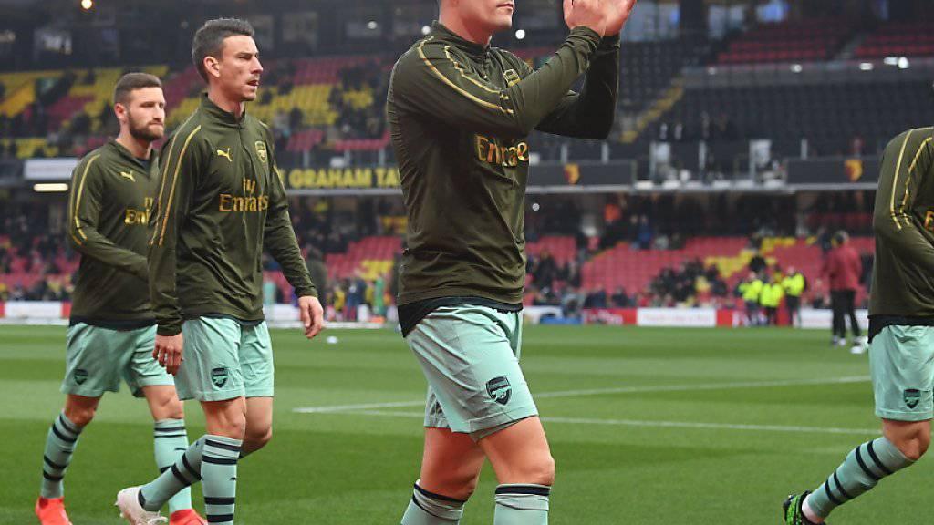 Granit Xhaka (im Vordergrund) gab nach gut zweiwöchiger Pause wegen einer Leistenverletzung sein Comeback bei Arsenal