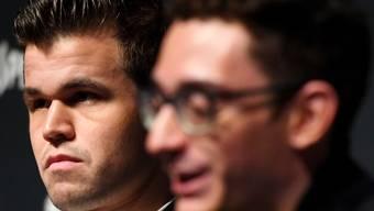 Die zwei WM-Strategen: Titelhalter Magnus Carlsen aus Norwegen (links) und Herausforderer Fabiano Caruana aus den USA