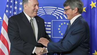 Bei seinem Besuch in Brüssel traf US-Aussenminister Pompeo (l) auch den neuen Präsidenten des EU-Parlaments, David Sassoli.