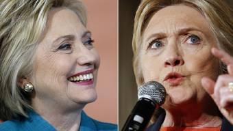 """Mal freundlich, mal wütend: Ein neues Insider-Buch will beweisen, dass Hillary Clinton einen """"Jekyll-Hide""""-Charakter hat. (Archivbilder)"""