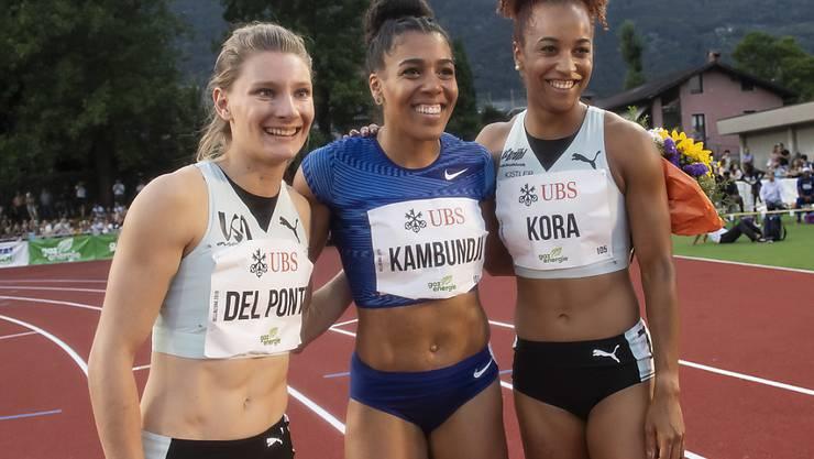 Die Schweizer Sprinterinnen Ajla Del Ponte, Mujinga Kambundji und Salome Kora am Meeting in Bellinzona