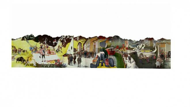 «Die Schweiz, das Ferienland der Völker» von Hans Erni, 1939 für die Landesausstellung gemalt. Hans Erni, Foto: Schweizerisches Nationalmuseum