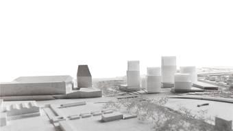 Die Hagnau-Überbauung (fünf transparente Türme rechts) soll einen Park vor der Haustüre erhalten: Das umgestaltete Schänzli-Areal (Ebene am rechten Bildrand).