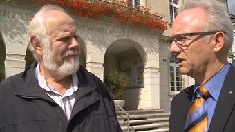 Gemeinderat Hans Marti (l.) und Gemeindepräsident Martin Blaser werden sich vorerst nicht einig.
