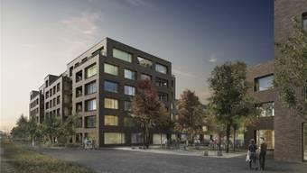 Zwischen dem Wohn-und Gewerbegebäude soll ein Platz entstehen, der zum Verweilen einladen soll.