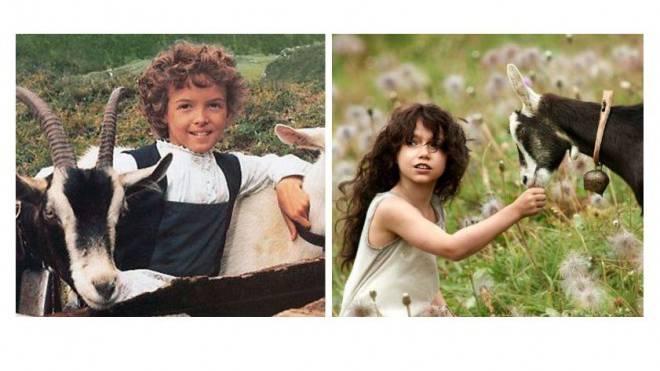 Heidi-Darstellerin Katja Polletin 1978. Foto: HO (links), Anuk Steffen wird vor dem Filmstart mit Vorschusslorbeeren überhäuft. Foto: Walt Disney