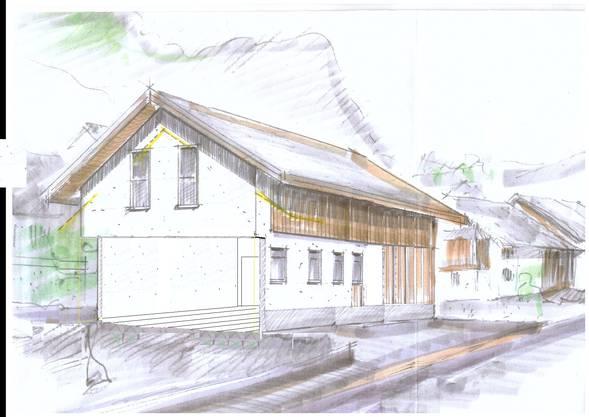Diese Skizze zeigt, wie das Milchhüsli aussehen soll (Blick von der gegenüberliegenden Seite der Hauptstrasse). (Bild: ZVG)
