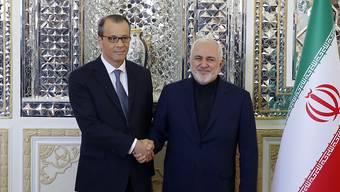 Der iranische Aussenminister Mohammed Dschawad Sarif (r) hat am Sonntag IAEA-Interimschef Cornel Feruta in Teheran empfangen.
