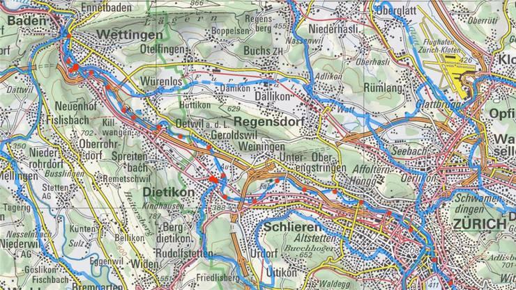 Die blaue Linie mit den roten Punkten zeigt die Etappe der «Route 66» von Baden nach Zürich. Schweiz Mobil