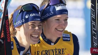 Im Hoch: Nadine Fähndrich (re.) feierte in Dresden im Sprint und ihm Teamsprint mit Laurien van der Graaff ihre ersten beiden Weltcup-Siege