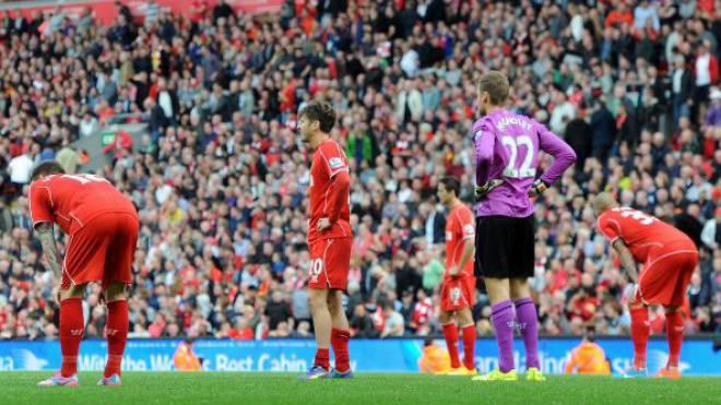 Wieder kein Sieg: Die Enttäuschung der Liverpooler Spieler nach dem Unentschieden gegen Everton ist riesig.