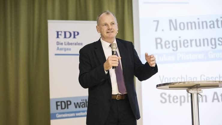 Bau-, Verkehrs- und Umweltdirektor Stephan Attiger legt am FDP-Parteitag dar, warum er weitere vier Jahre Regierungsrat sein möchte.