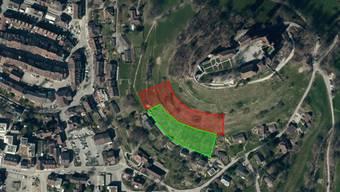 Zwischen Schloss (rechts) und Altstadt soll der bestehende Rebberg (grün) mehr als verdoppelt werden (rot). zVg