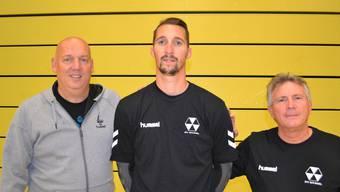 Cheftrainer Joop Fiege, Damien Waeghe und RTV-Assistenztrainer Patrice Kaufmann.