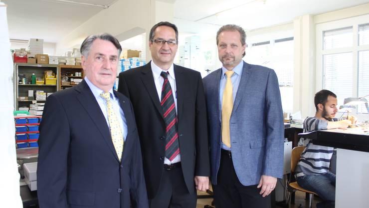 CEO und Verwaltungsratspräsident Fred Leibundgut, mitte, mit Manfred Studer (links) und Daniel Kessler