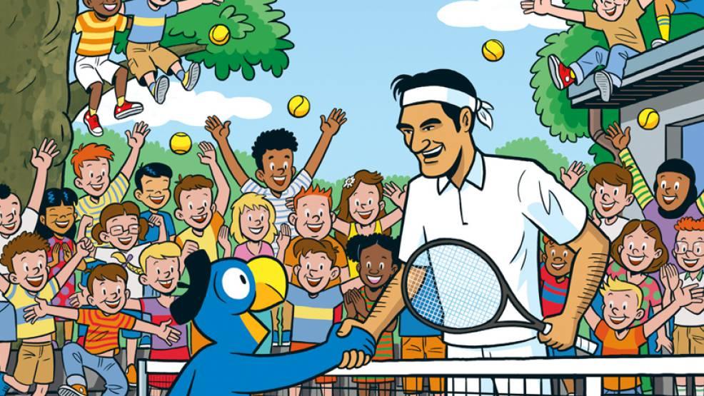 Für Globi ist es eine grosse Ehre und Freude, mit dem weltberühmten Tennisprofi unterwegs zu sein.