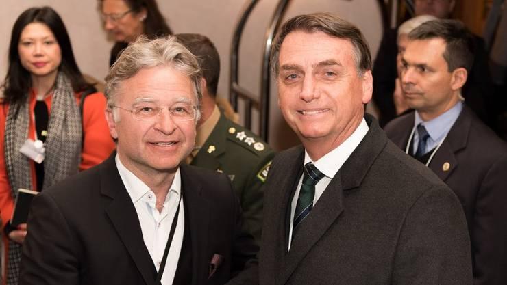 Ernst Wyrsch mit dem brasilianischen Präsidenten Jair Bolsonaro am WEF 2019.