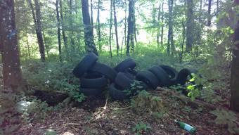 Im Bucheggberg deponierte Reifen.