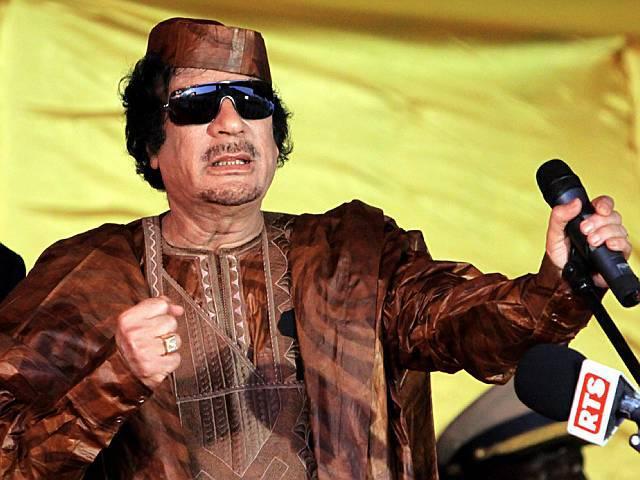 Hier brennt Muammar al-Gaddafi