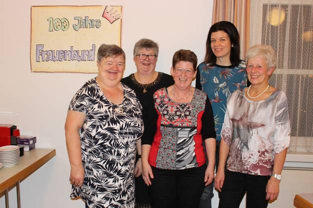 Der Vorstand im Jubiläumsjahr (von links): Gaby Weiss (Präsidentin), Maja Obrist, Caroline Schraner, Jasmin Meier, Erika Schraner.