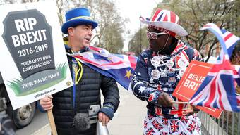 Brexit-Gegner (l.) und Brexit-Fan diskutieren in London: Die Fronten im Parlament scheinen verhärteter als zwischen diesen beiden.