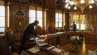 Blick ins Sitzungszimmer der Landesregierung: Der Bundesrat verurteilt die Angriffe der Türkei in Syrien und nennt sie völkerrechtswidrig. (Themenbild)