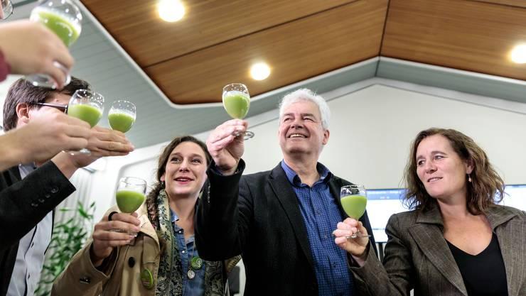 Die Grüne Welle traf auch Kanton Solothurn. Auf dem Bild: (v.l.) Laura Gantenbein, Felix Wettstein, Franziska Roth