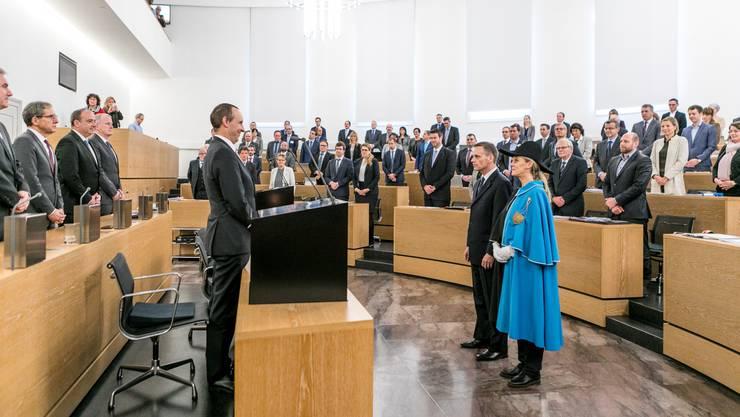 Eine gerade mal vierminütige Zeremonie: Jean-Pierre Gallati wird als Regierungsrat vereidigt.