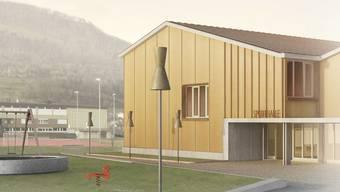 So präsentiert sich die projektierte Sporthalle. Rechts angedeutet ist die mögliche Kombination mit dem Gemeindesaal.