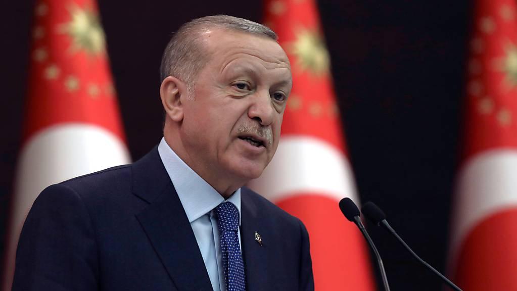 Recep Tayyip Erdogan, Präsident der Türkei, spricht während einer Pressekonferenz. Foto: Burhan Ozbilici/AP/dpa