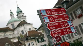 Velowegbeschilderung in der Stadt Solothurn