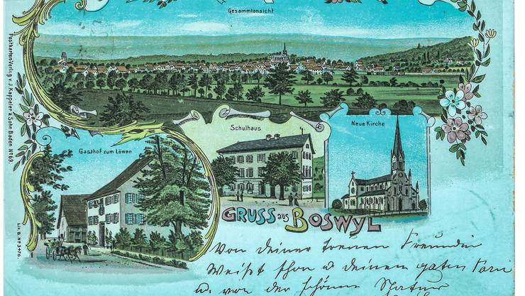 Am 26. Juni 1902 wurde in Boswil dieser Kartengruss für Marie Hug in Bremgarten aufgegeben. Der Absender feiert damalsoffenbar seine heilige Firmung.