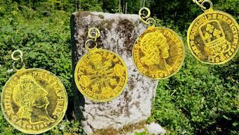 Im Wald zeugt ein Gedenkstein von einem Sensationsfund vor über 100 Jahren: Am 3. Februar 1905 stiessen Klingnauer Holzhauer auf eine Kiste mit 829 Goldmünzen.