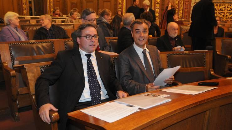Eröffnung: Woche der Religionen im Rathaus: Die beiden Regierungsräte Urs Wüthrich und Guy Morin. (Bild: Heinz Dürrenberger)
