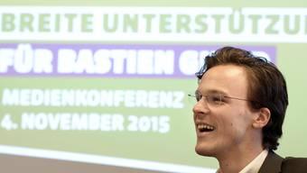 Bastien Girod, Nationalrat Gruene, an einer Medienkonferenz in Zuerich am Mittwoch, 4. November 2015.JPG