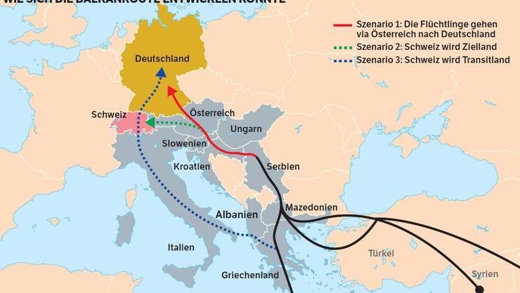Die drei Flüchtlingsrouten nach Europa und die drei möglichen Szenarien