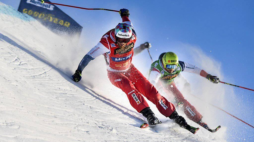 Alex Fiva (vorne) ist mit elf Weltcupsiegen der erfolgreichste Schweizer Skicrosser im Olympia-Quartett.