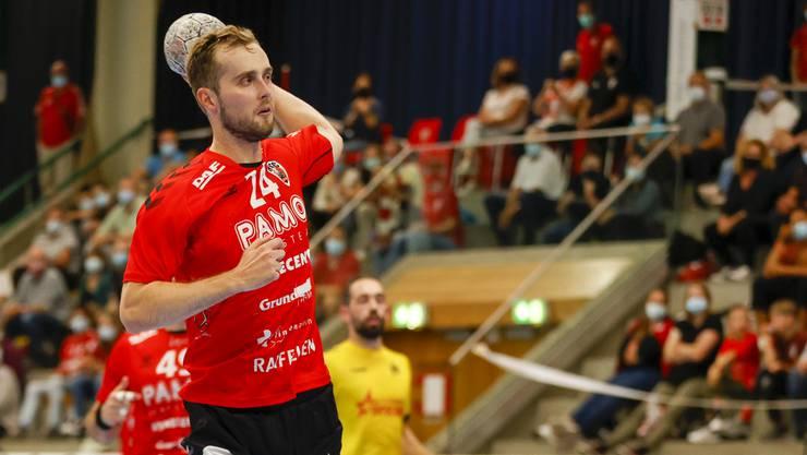 HSC-Flügel David Poloz und seine Teamkollegen spielen in der Aarauer Schachenhalle aufgrund des Corona-Schutzkonzepts maximal vor 650 Zuschauerinnen und Zuschauern.