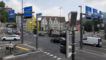 Der Badener Schulhausplatz ist die meistbefahrene Kreuzung im Kanton. Alex Spichale