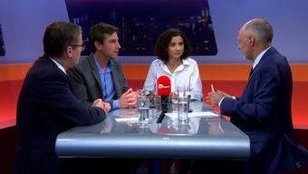 Die Aargauer Parteipräsidenten Thomas Burgherr (SVP), Daniel Hölzel (Grüne) und Gabriela Suter (SP) im Schlagabtausch.