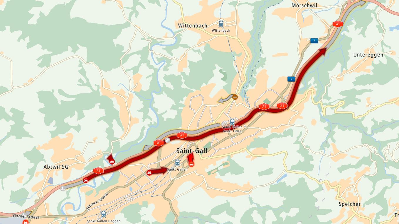 Schon wider staut es auf der Stadtautobahn in St.Gallen.