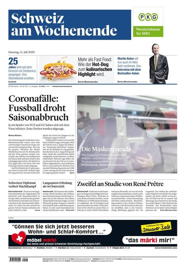 Die aktuelle Frontseite der Schweiz am Wochenende.